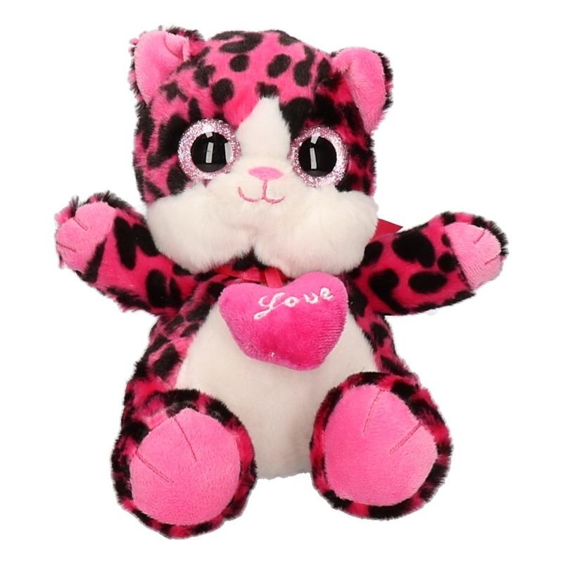 Pluche knuffel roze kat/poes 22 cm