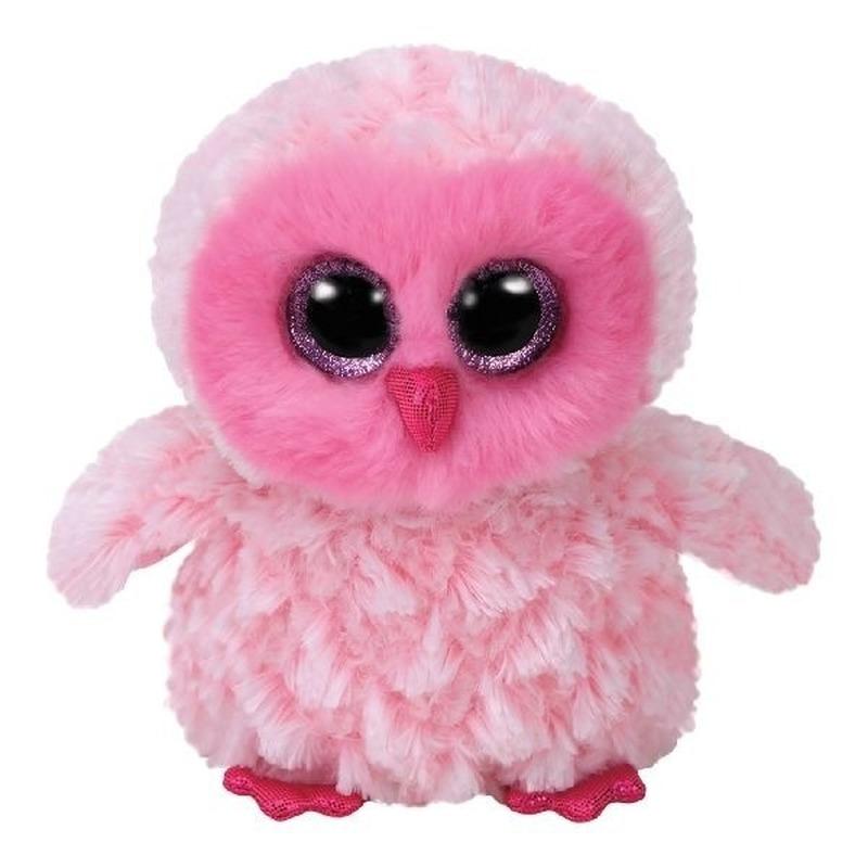 Pluche knuffel uil roze 15 cm