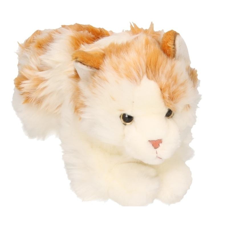 Pluche knuffel wit/bruin gevlekte kat/poes 26 cm