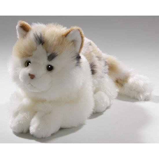 Pluche knuffel wit gevlekte kat/poes 26 cm