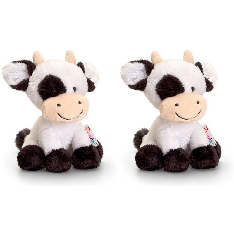 Pluche koe/koeien knuffels zusjes Berta en Clara 14 cm