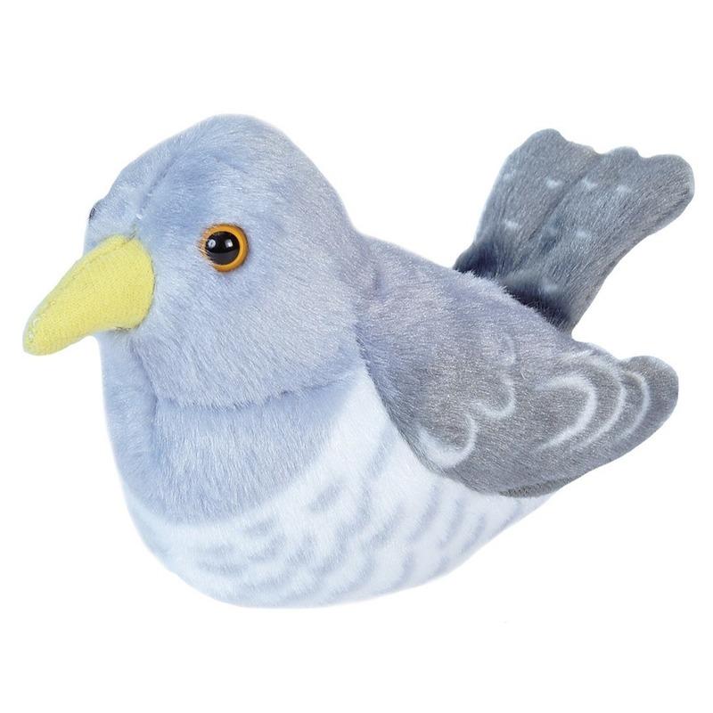 Pluche koekoek vogel knuffel met geluid 13 cm