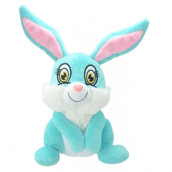 Pluche konijn/haas knuffel blauw 30 cm