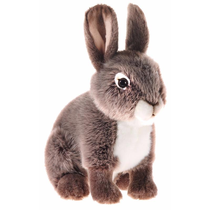 Pluche konijn / haas knuffel zittend 21 cm