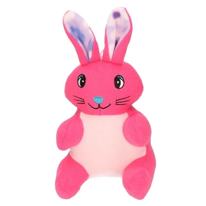 Pluche konijn/paashaas knuffel roze 23 cm