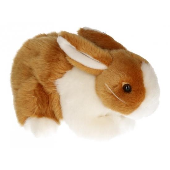 Pluche konijnen knuffel bruin/wit 20 cm