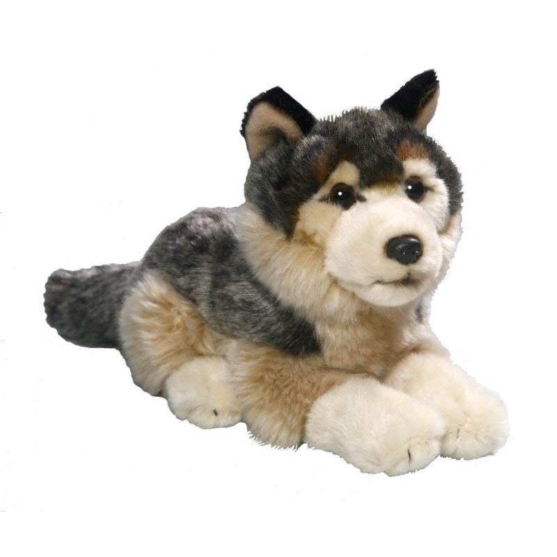 Pluche liggende wolf knuffel 21 cm