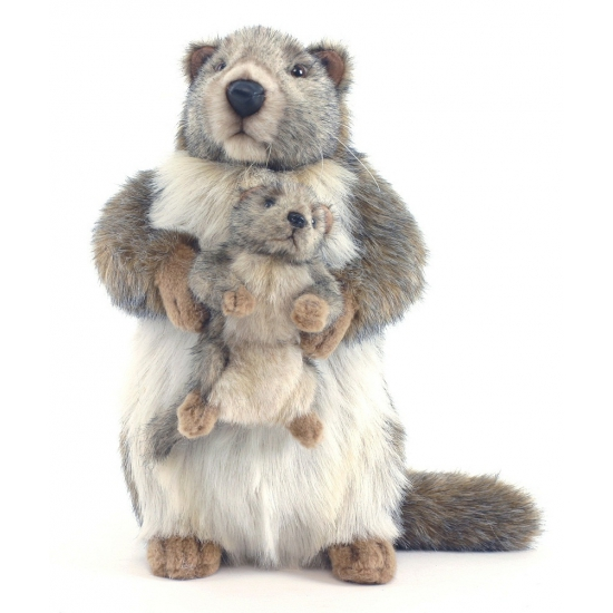 Pluche marmot met baby 35 cm