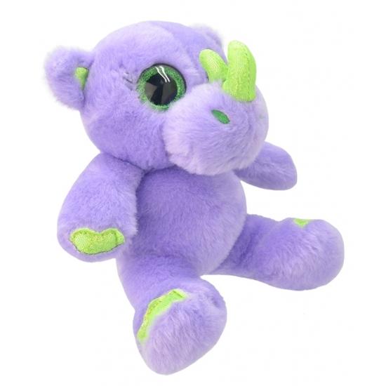 Pluche neushoorn knuffel paars 19 cm