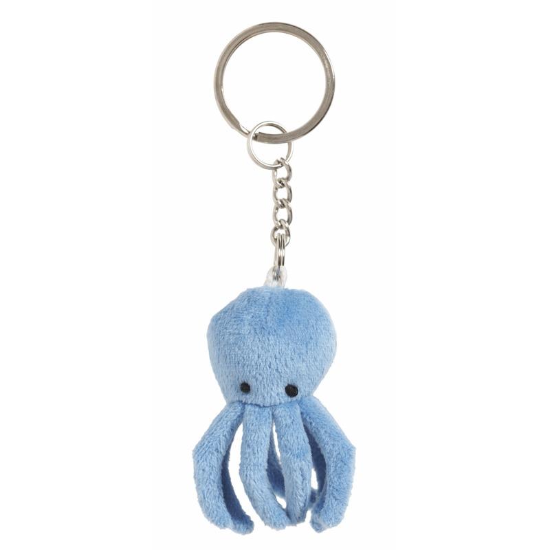 Pluche octopus sleutelhanger 6 cm
