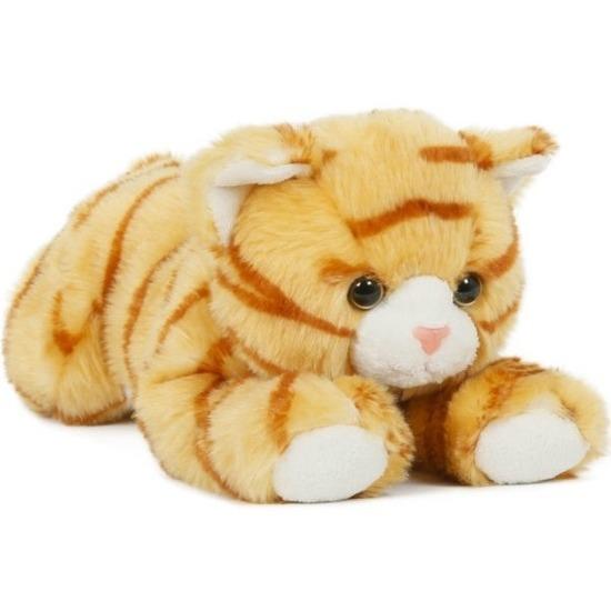 Pluche oranje/rode poes/kat knuffel liggend 25 cm speelgoed