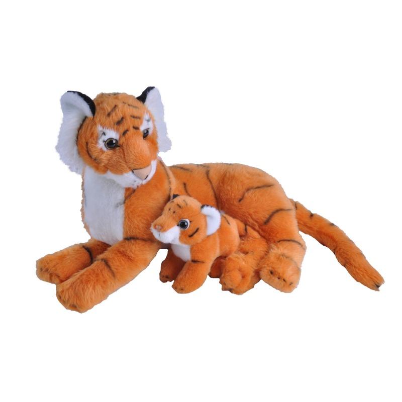 Pluche oranje tijger met welpje knuffels 38 cm speelgoed