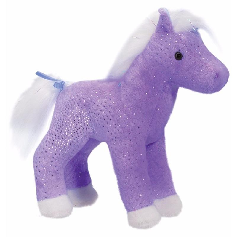Dieren knuffels Geen Pluche paard paars met glitters 18 cm