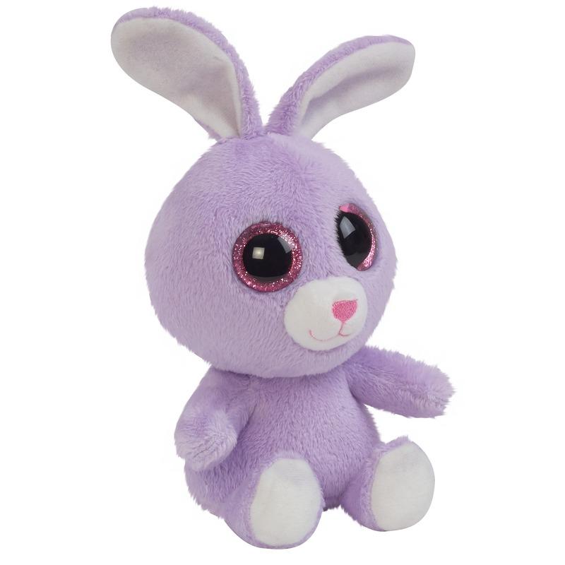 Pluche paarse konijn/haas knuffeltje 15 cm