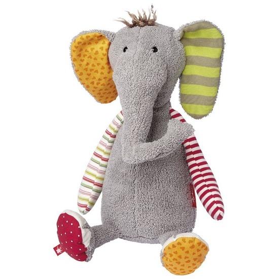 Pluche patchwork grijze olifant knuffel 40 cm