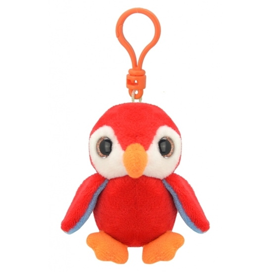 Pluche pinguin sleutelhanger rood 9 cm