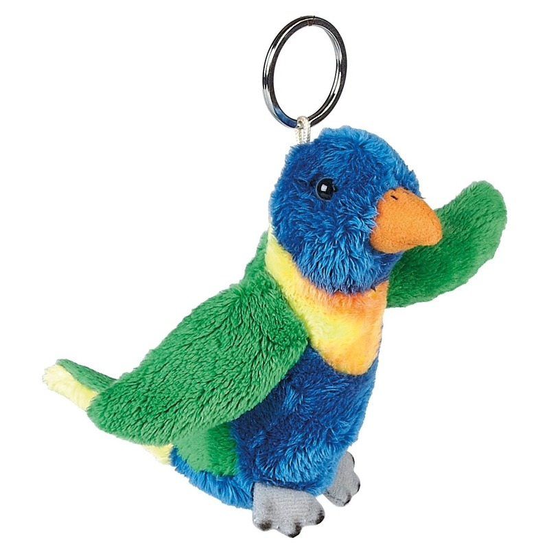 Pluche regenbooglori vogel sleutelhanger 10 cm