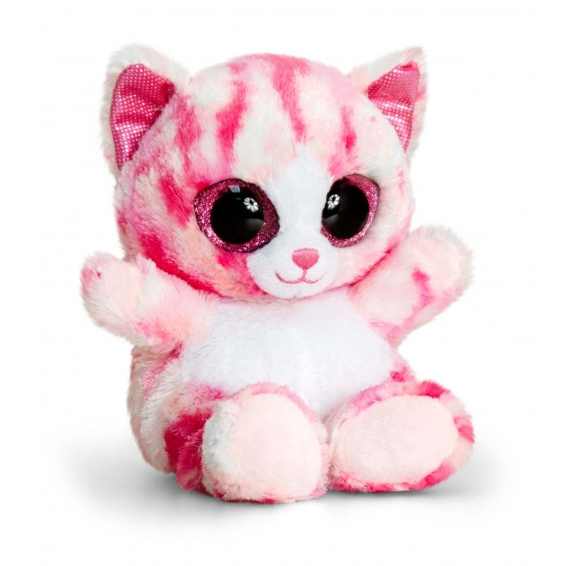 Pluche roze knuffel katje 15 cm