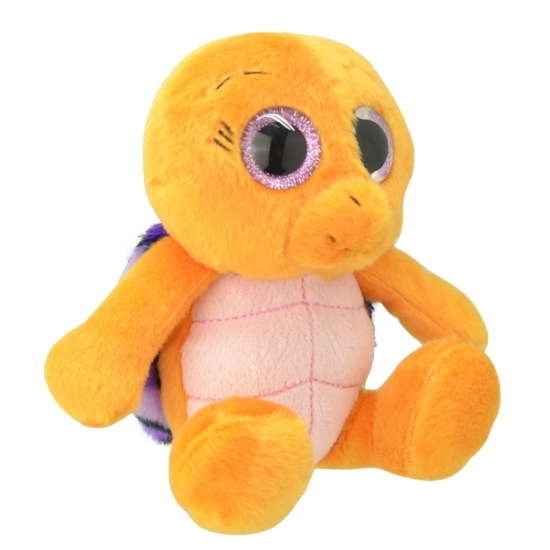 Pluche schildpad knuffel oranje/paars 18 cm