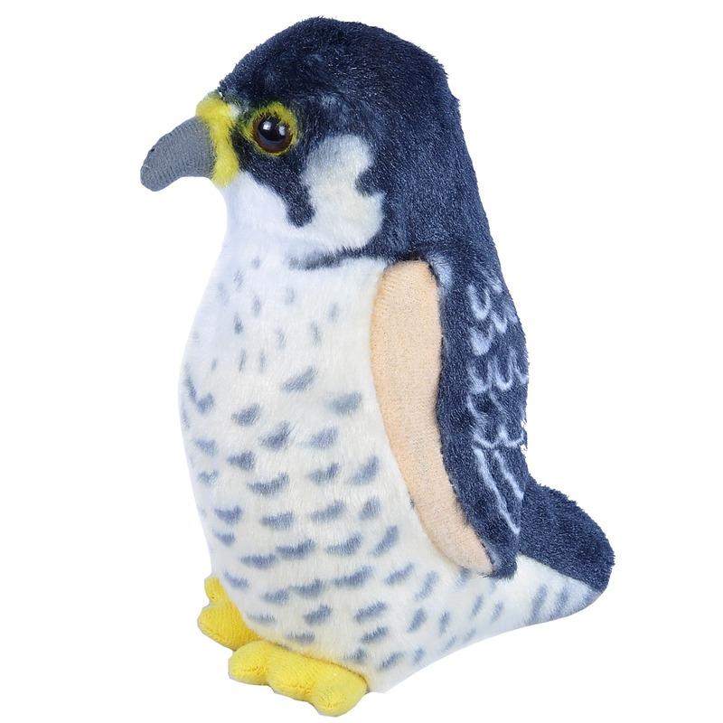 Pluche slechtvalk knuffel vogel met geluid 13 cm speelgoed
