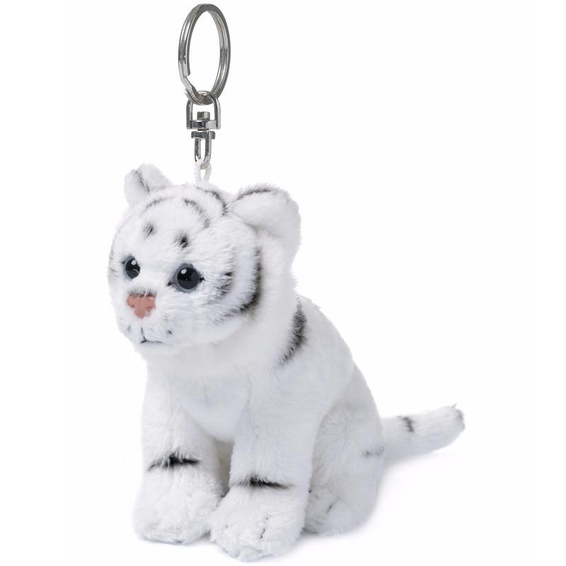 Pluche sleutelhangers witte tijgers
