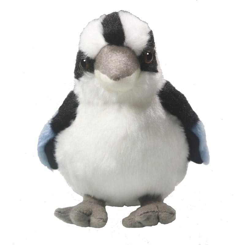 Pluche tropische kookaburra ijsvogel knuffel 14 cm
