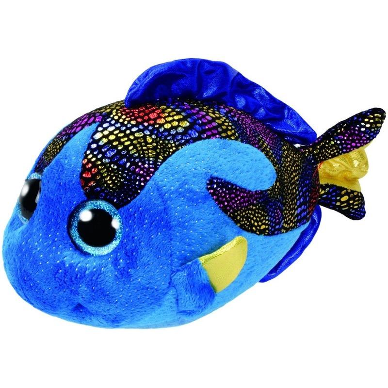 Pluche Ty Beanie blauwe vis/vissen knuffel Aqua 24 cm