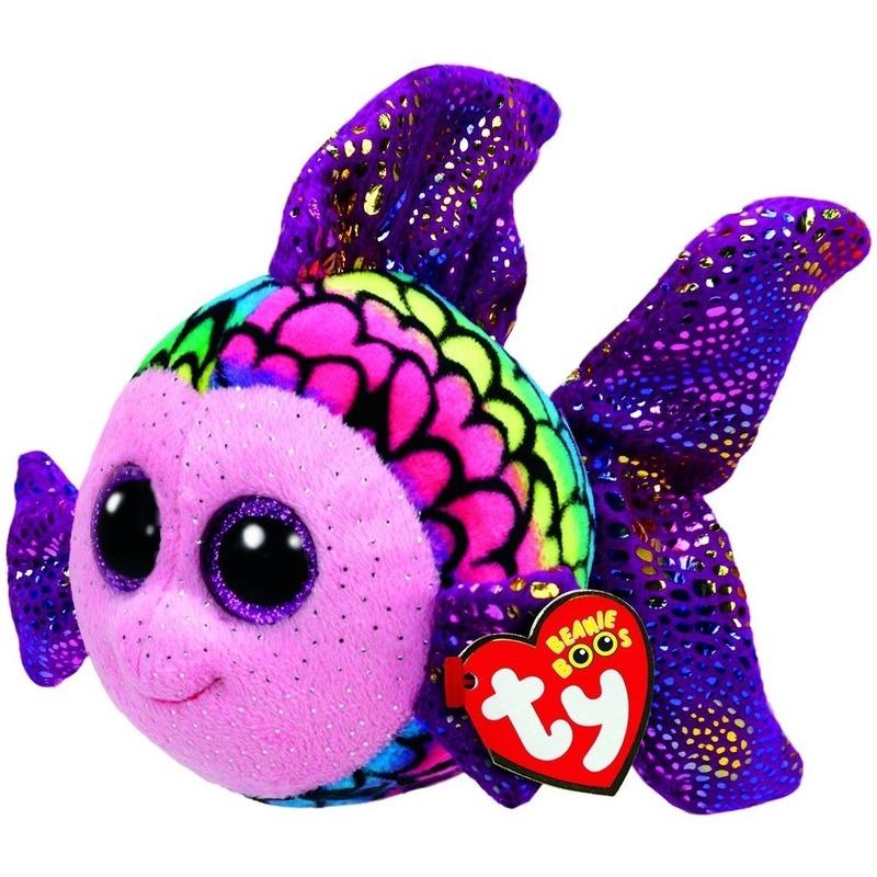 Pluche Ty Beanie gekleurde vis/vissen knuffel Flippy 24 cm