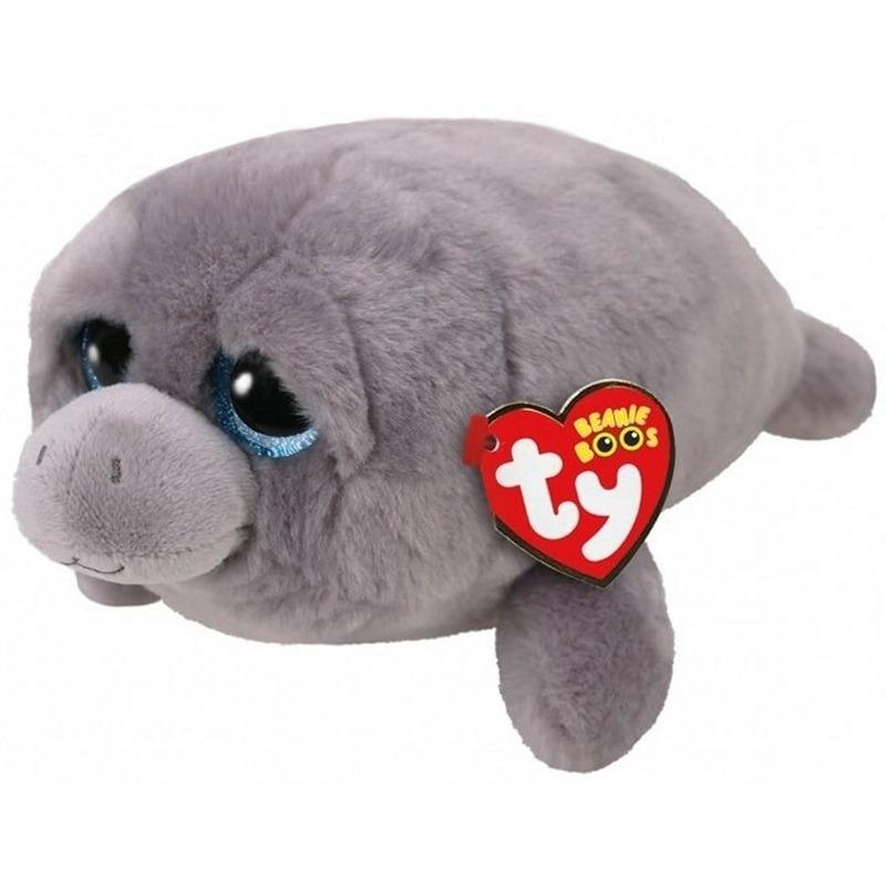 Pluche Ty Beanie grijze zeekoe knuffel Milo 15 cm