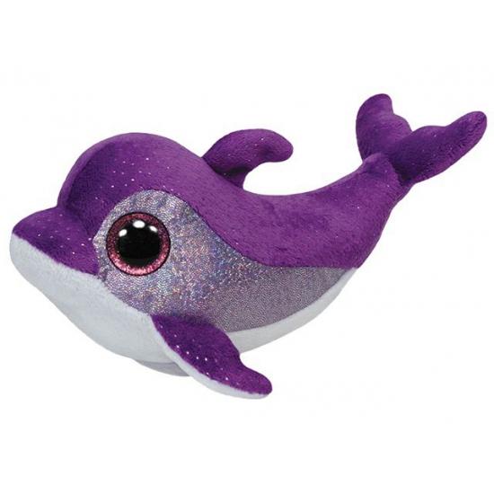 Pluche Ty Beanie knuffel dolfijn paars 15 cm