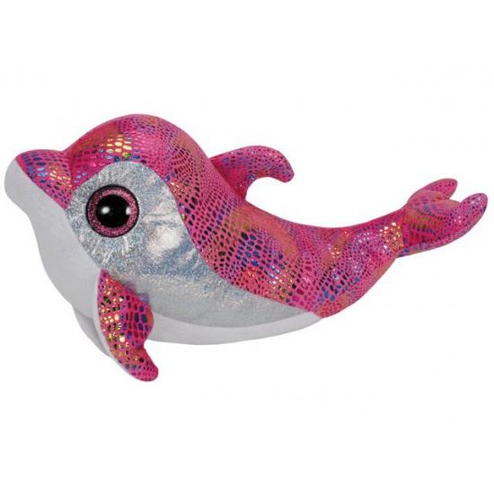 Pluche Ty Beanie knuffel dolfijn roze 24 cm
