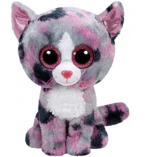Pluche Ty Beanie knuffels roze gevlekte poes 15 cm