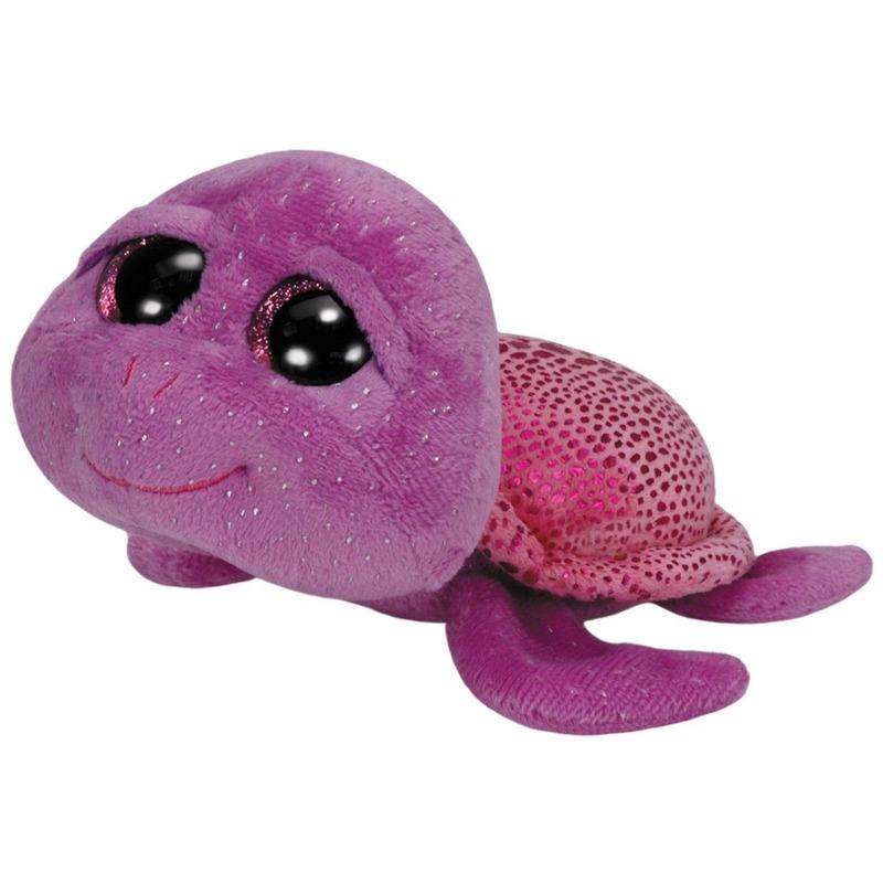 Pluche Ty Beanie paarse zeeschildpad knuffel Slowpoke 15 cm