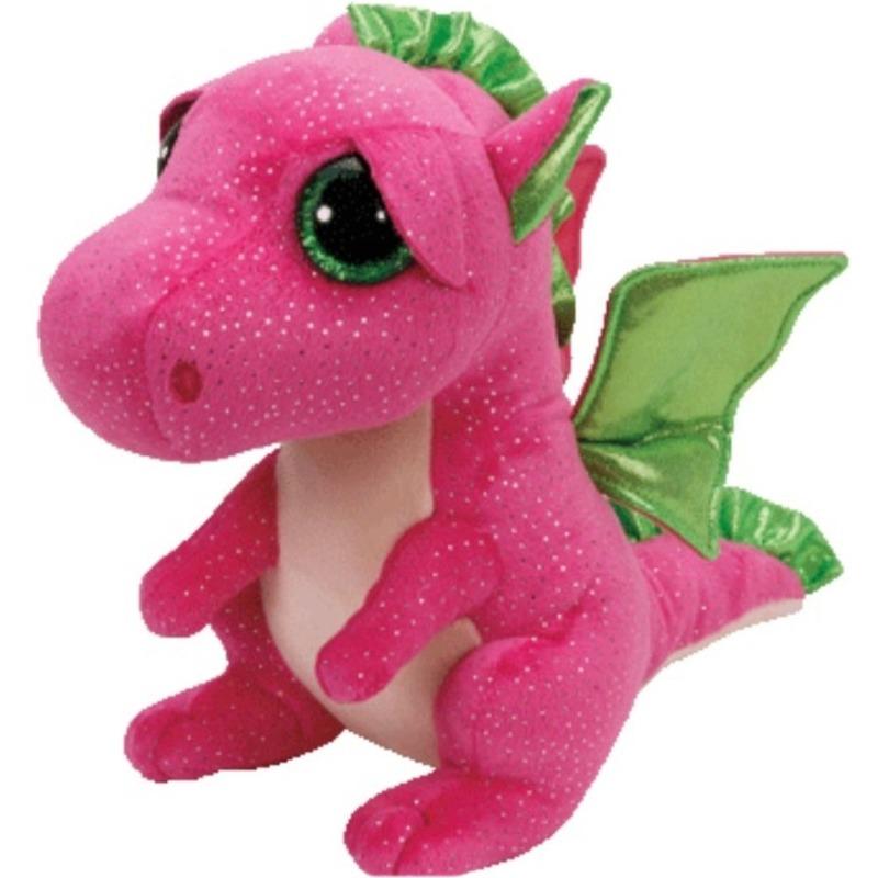 Pluche Ty Beanie roze draak/draken knuffel Darla 24 cm speelgoed