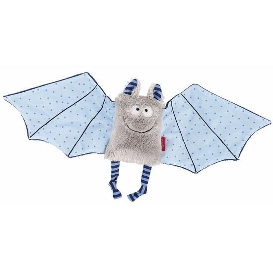 Pluche vleermuis knuffel blauw/grijs