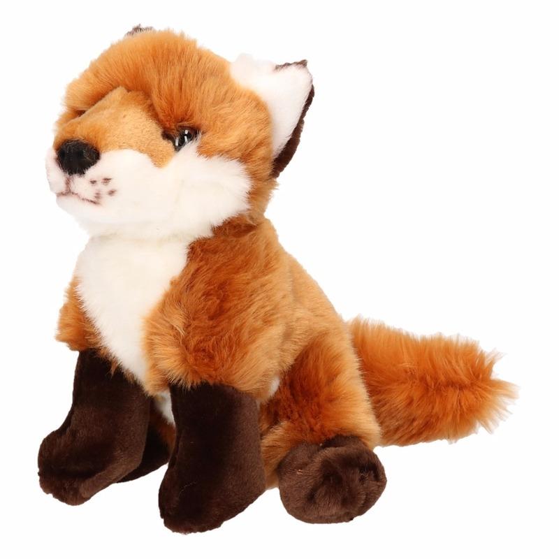 Pluche vos bruin-rood 18 cm