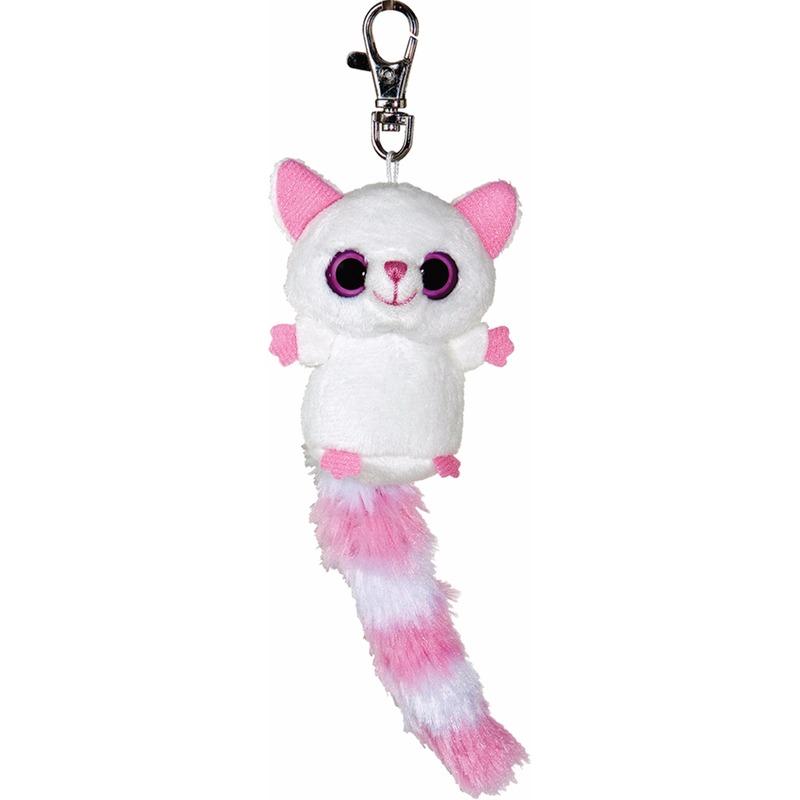 Pluche vossen sleutelhanger wit/roze 7,5 cm
