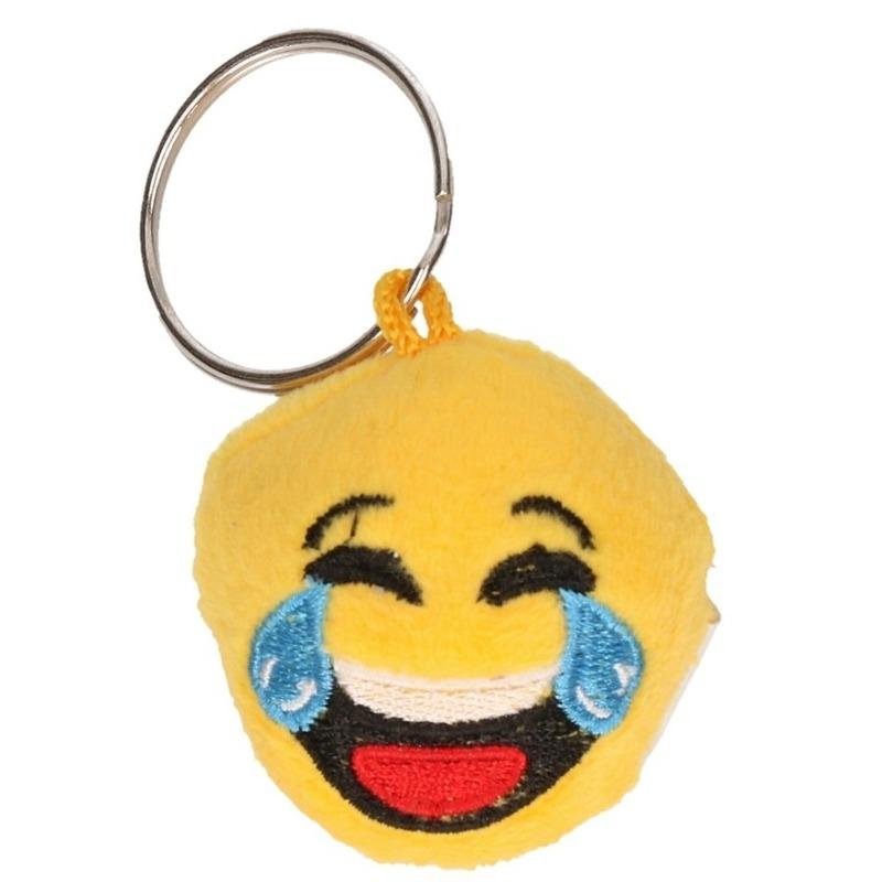 Pluche vrolijke sleutelhanger smiley met geluid