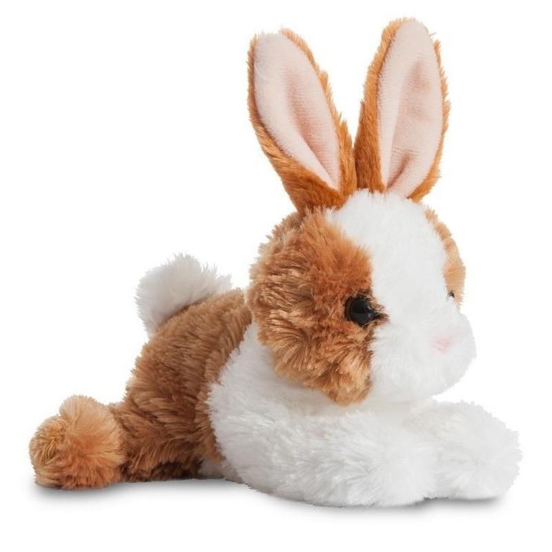 Pluche wit/bruine konijn/haas knuffel 20 cm speelgoed