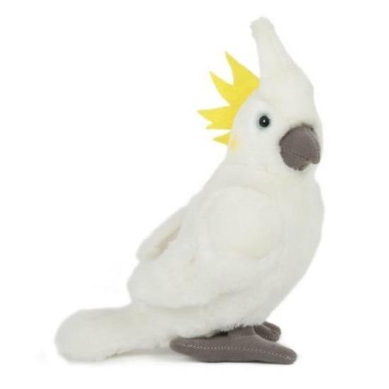 Pluche witte kaketoe vogel knuffel 23 cm speelgoed