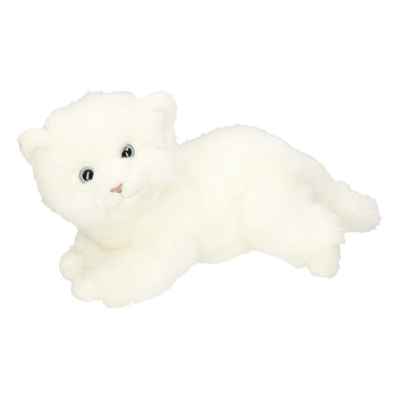 Pluche witte kitten/poes knuffel 27 cm