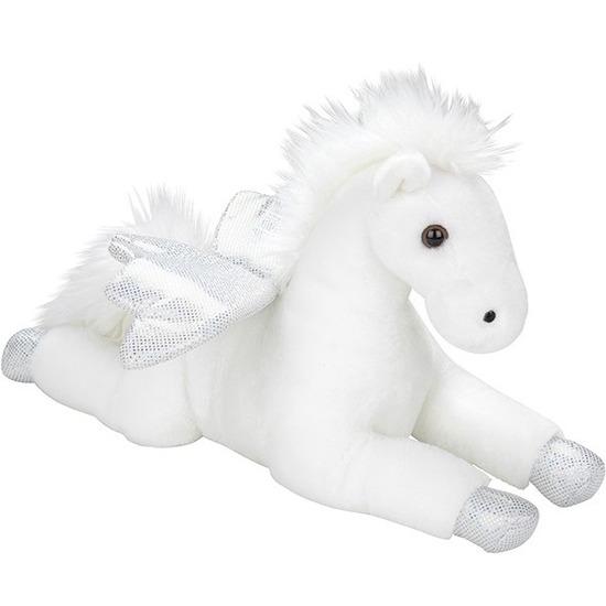 Pluche witte pegasus/vliegende paarden knuffel 35 cm speelgoed