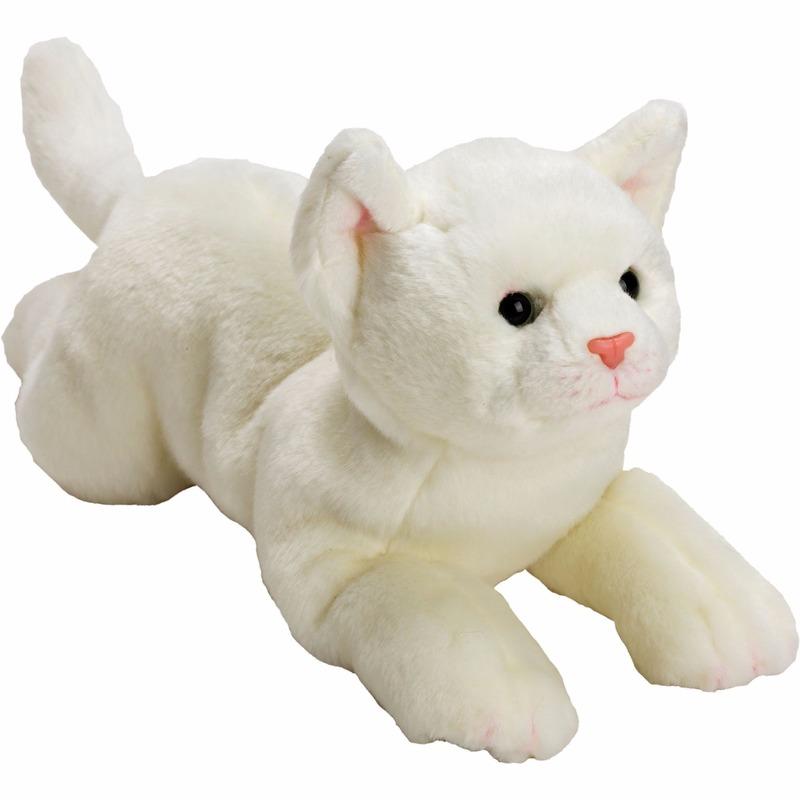 Pluche witte poes/kat knuffel liggend 33 cm