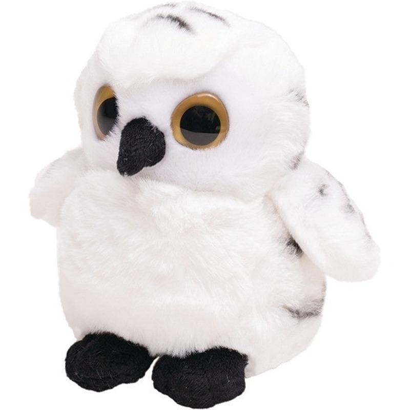 Pluche witte sneeuwuil knuffel vogel 13 cm speelgoed