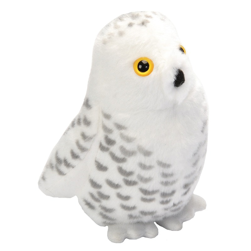 Pluche witte sneeuwuil met geluid knuffel vogel 13 cm speelgoed