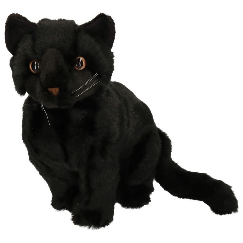 Pluche zittende knuffel kat/poes zwart 30 cm