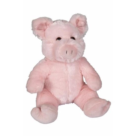 Pluche zittende varken knuffeldier 21cm
