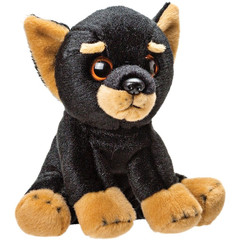 Pluche zwart/bruine doberman puppy honden knuffel 14 cm