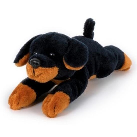 Pluche zwart/bruine rottweiler honden knuffel 13 cm speelgoed