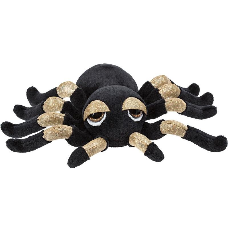 Pluche zwart/gouden spin knuffel met glitters 13 cm speelgoed